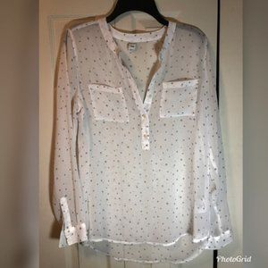 Old Navy Sheer White Blouse with Gray Stars